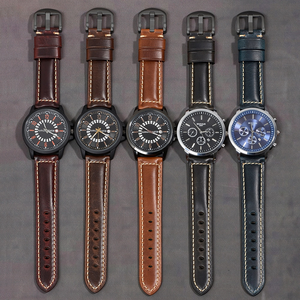 Купить с кэшбэком BEAFIRY Watchbands 19mm 20mm 21mm 22mm 23mm 24mm Oil Tanned Natural Crack Genuine Leather Watch Band Watch Straps Belt for Men
