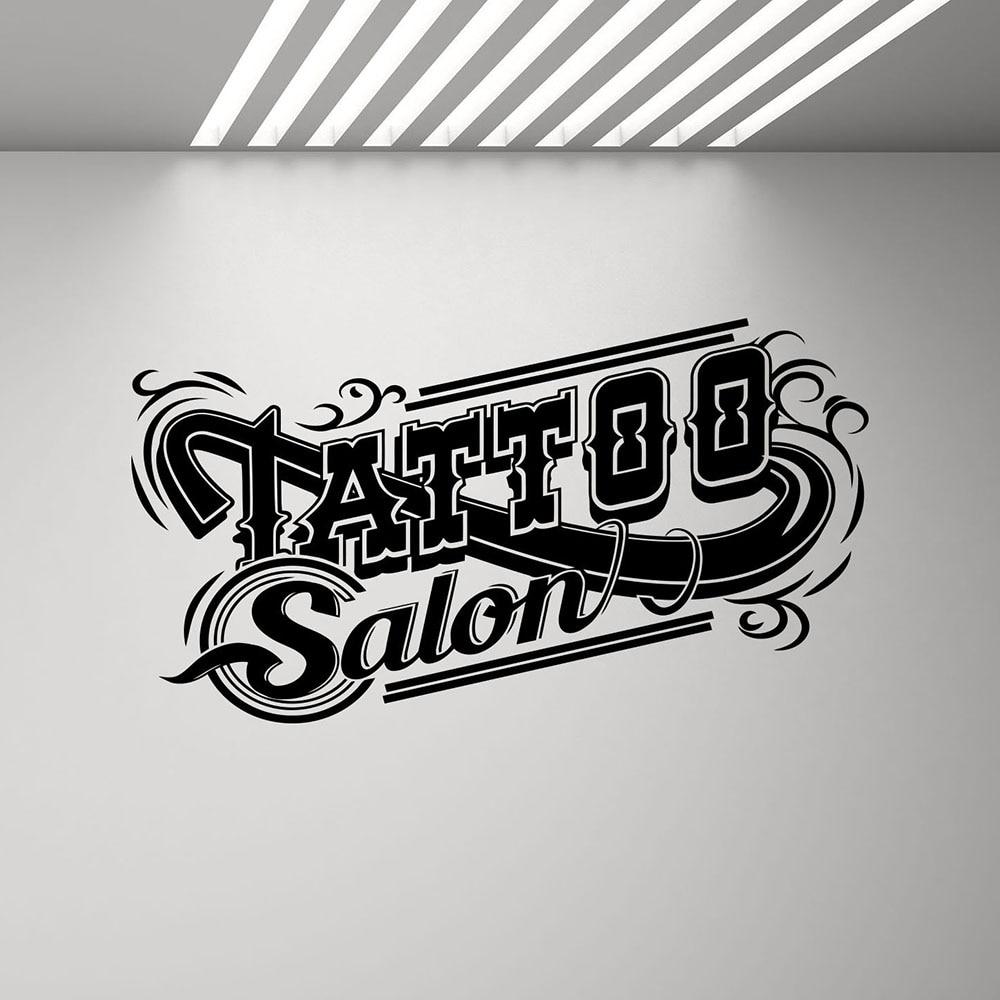 Tatuaje pared del salón tatuaje adhesivo tienda signo Logo pegatinas cartel estudio diseño puerta vinilo adhesivo para ventana Mural Arte de la pared Decoración G495
