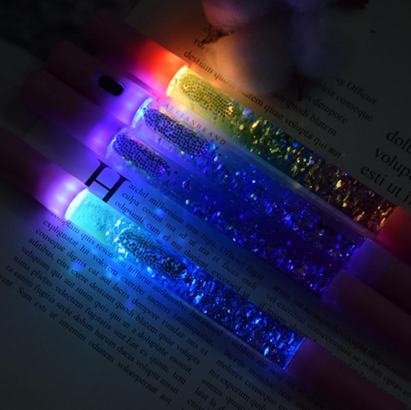 Pluma bonita de brillo de Color líquido bolígrafo Kawaii bolígrafo de Gel de luz mágica bolígrafo de cristal para escritura de oficina bonito regalo de papelería