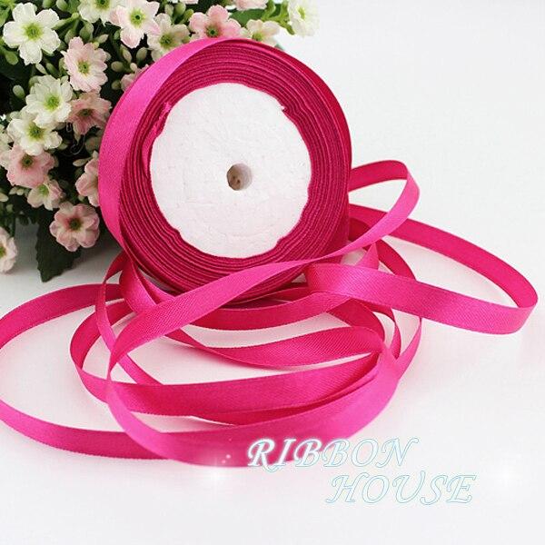 """(25 yardas/roll) 3/8 """"10mm rosa roja de regalo de Navidad cinta de una sola cara de satén cinta decoración cintas"""