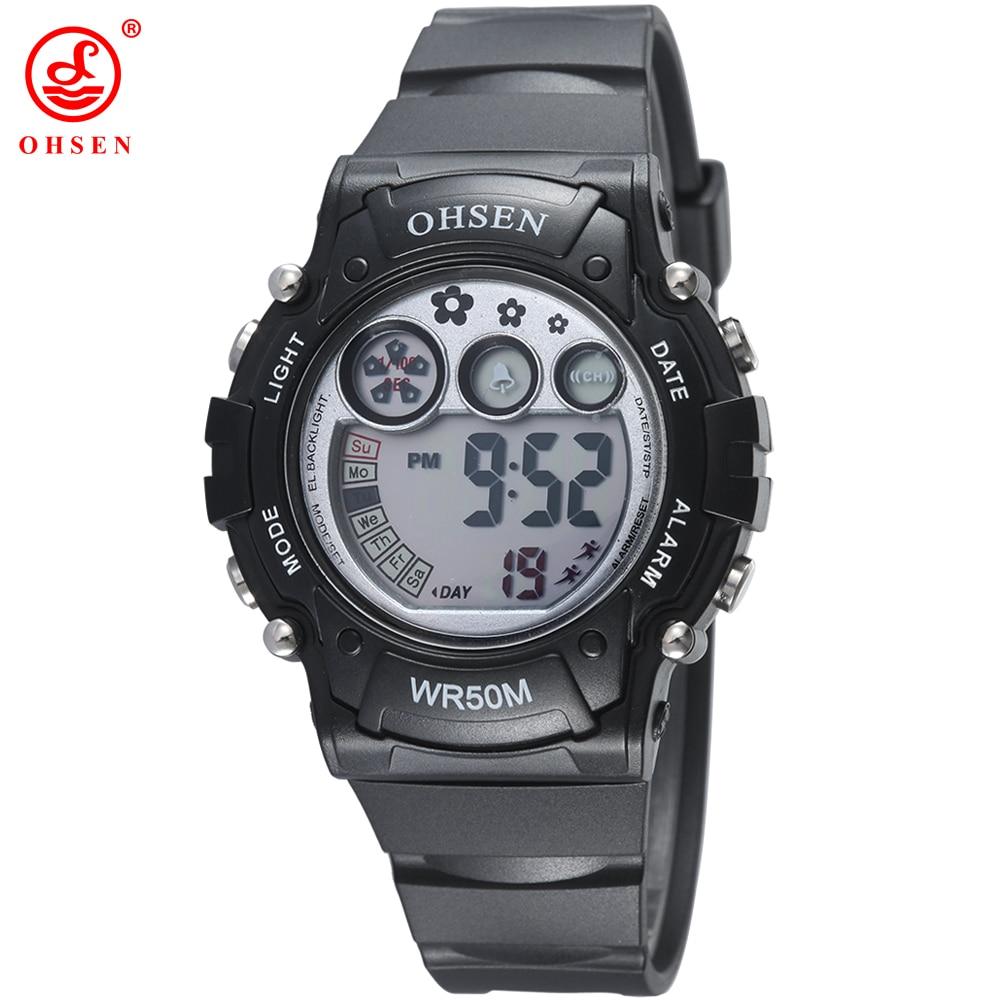 Fashion Brand OHSEN Hot Sale Children Boys Girls LED Digital Watch Alarm Chronograph Waterproof Sports Watch Student Kids Clock