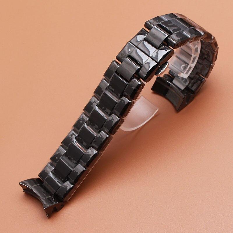 Ремешок для часов 22 мм, высококачественный керамический черный браслет с бриллиантом, подходят для брендовых часов 1400 1403 1410 1442, мужские часы...