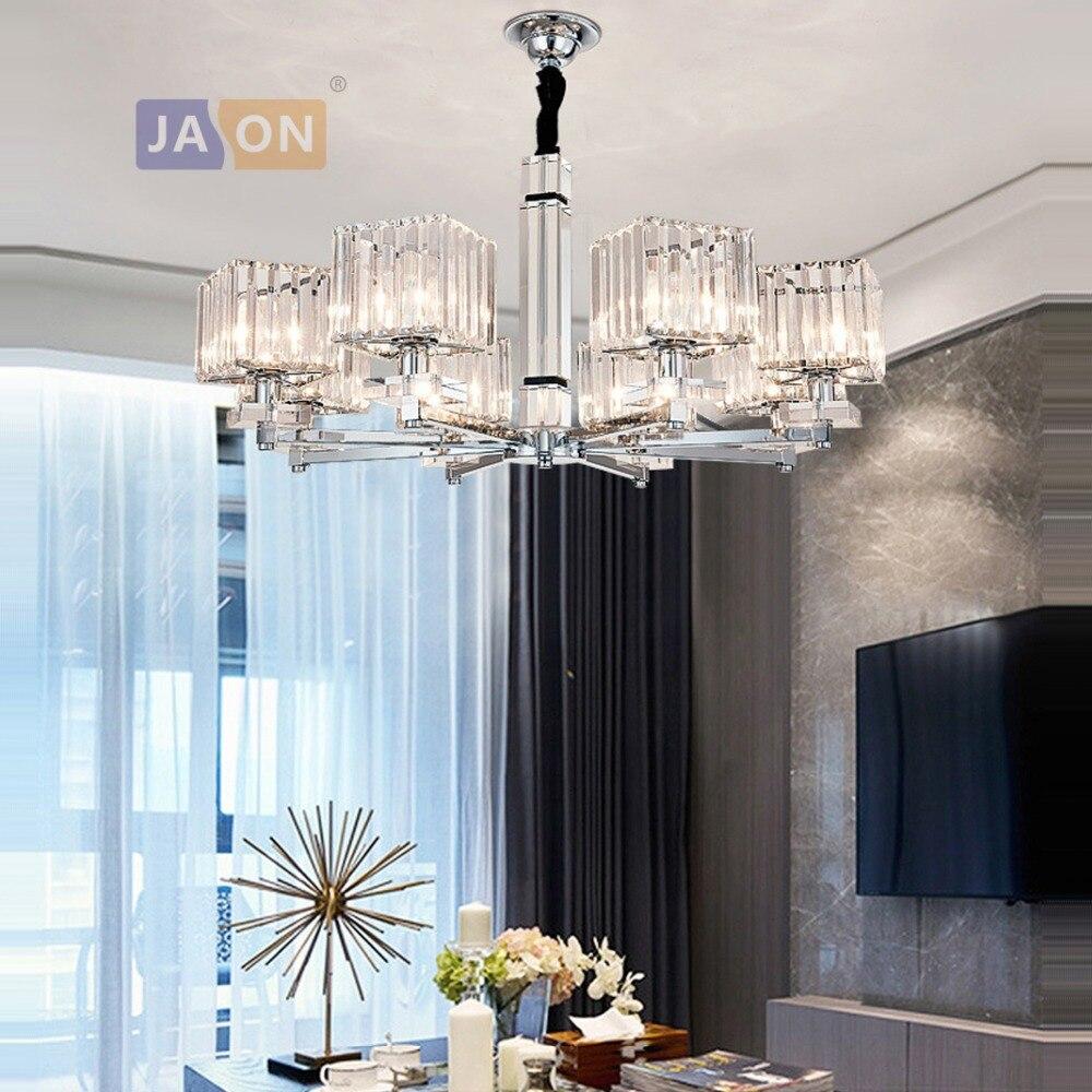 Led e14 rétro-moderne fer cristal Chrome clair lustre éclairage lampara De Techo Suspension Luminaire Lampen pour Foyer