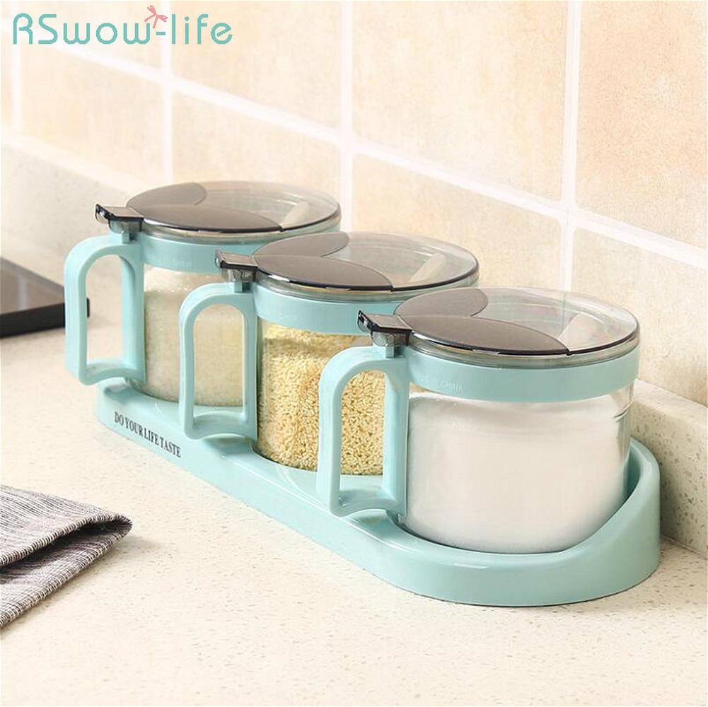 Combination Home Spice Box Creative Seasoning Box Kitchen Glass Seasoning Jar Set For Kitchen Tools