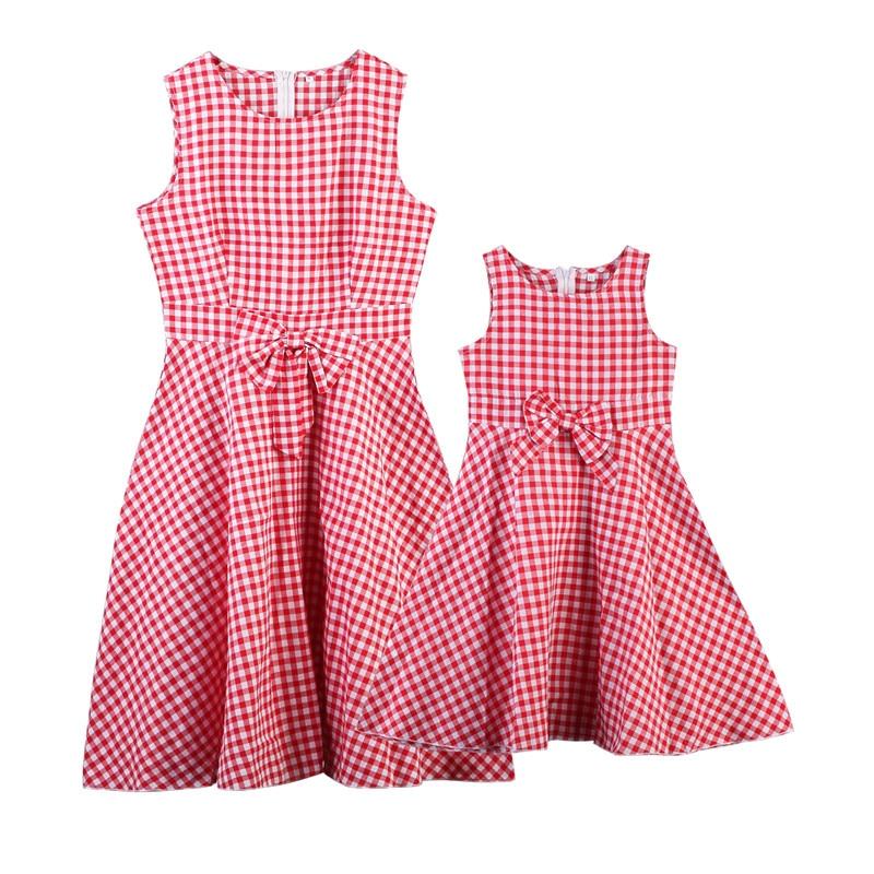 Ropa a juego para familia ropa de madre e hija vestido sin mangas con lazo a cuadros para padres e hijos ropa para bebé niña