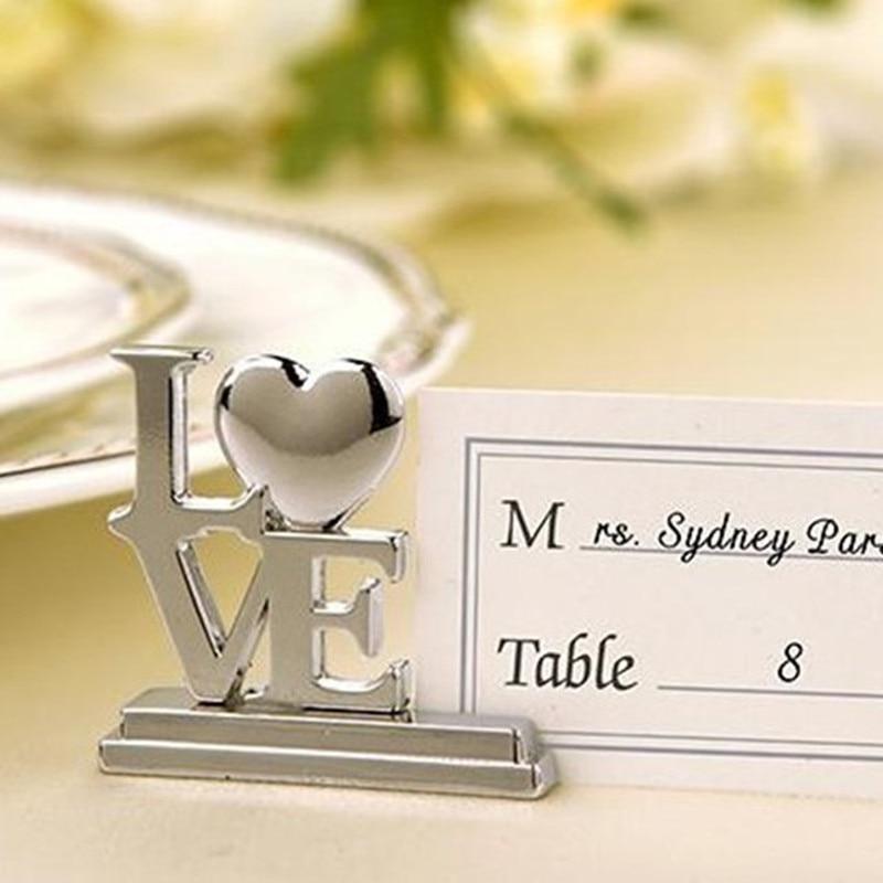 10 Uds. Portatarjetas para decoración de boda, tarjetas para invitados de boda, tarjetas de lugar de amor de Metal, soporte para tarjetas Rcard, suministros para eventos y fiestas de boda
