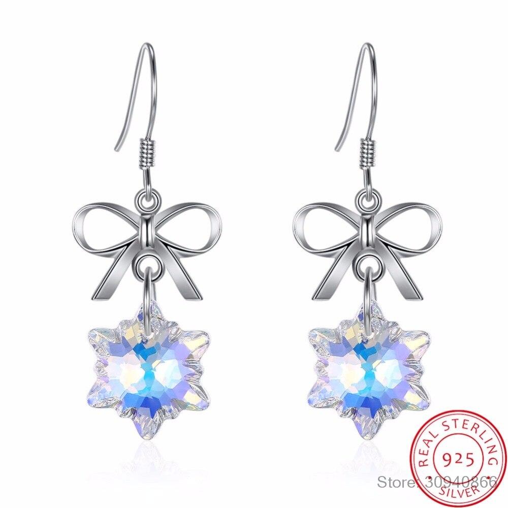 Luxus Kristalle mit bogen schneeflocke ohrringe für frauen weihnachten geschenk reine 925 Sterling Silber edlen schmuck