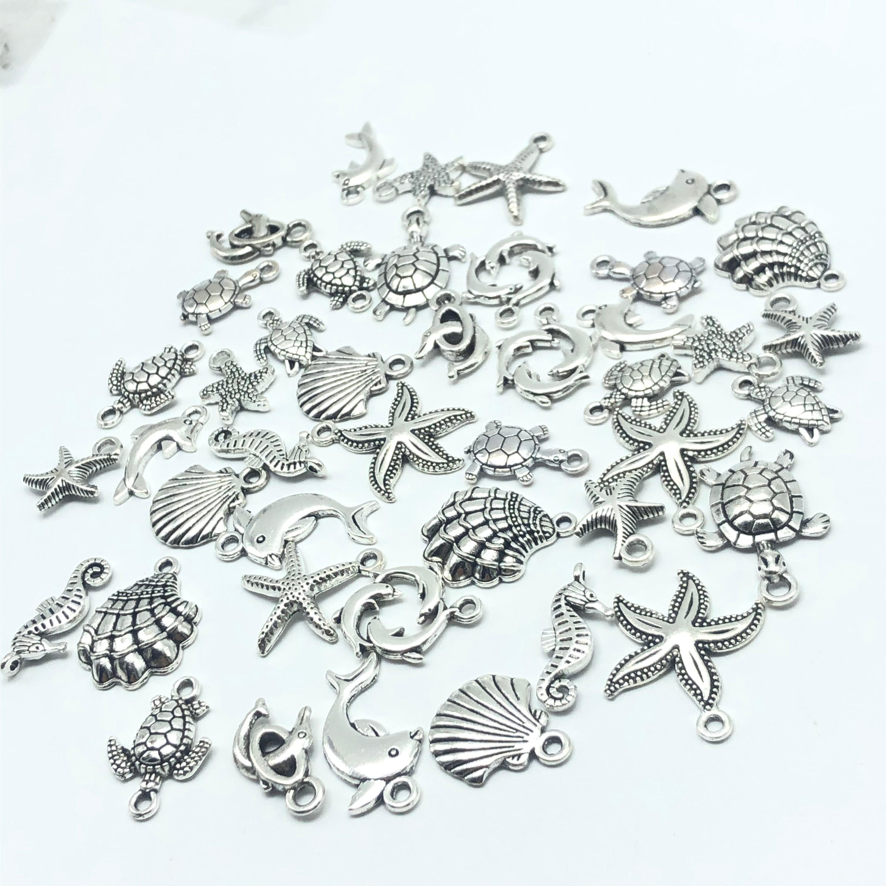 30pcs Mixed batch Tibetan silver starfish Sea turtles shell dolphins tortoise hippocampus Charm pendant jewellery findings недорого