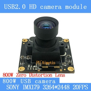 Industrial HD Surveillance camera Zero distortion 8MP 20FPS MJPG SONY IMX179 USB Camera Module Mini Webcam support audio
