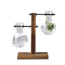 Vintage Stijl Glas Desktop Planten Bonsai Bloem Kerst Decoratie Vaas met Houten L/T Vorm Lade Home Decor Accessoires