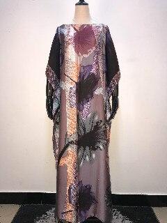 New elegant Printed silk for 2019 summer women dresses Fashionable Malaysia Muslim women long dresses match scarf African dress