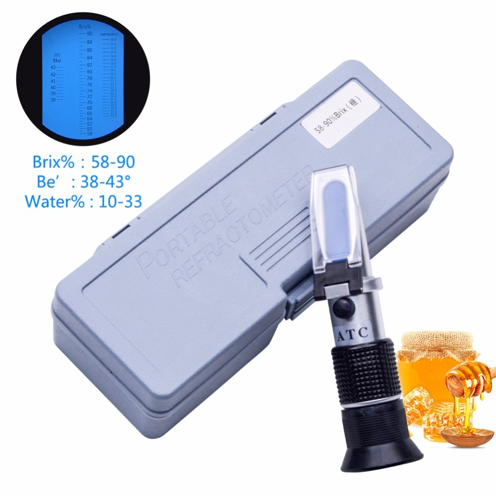 yieryi New 58~90% Brix 38~43 Be Baume Honey Wine Refractometer atc Portable Honey Refractometer Beekeeping Tester ootdty alcohol refractometer range 0 80% v v atc manuel focusing for wine liquor test a5yd