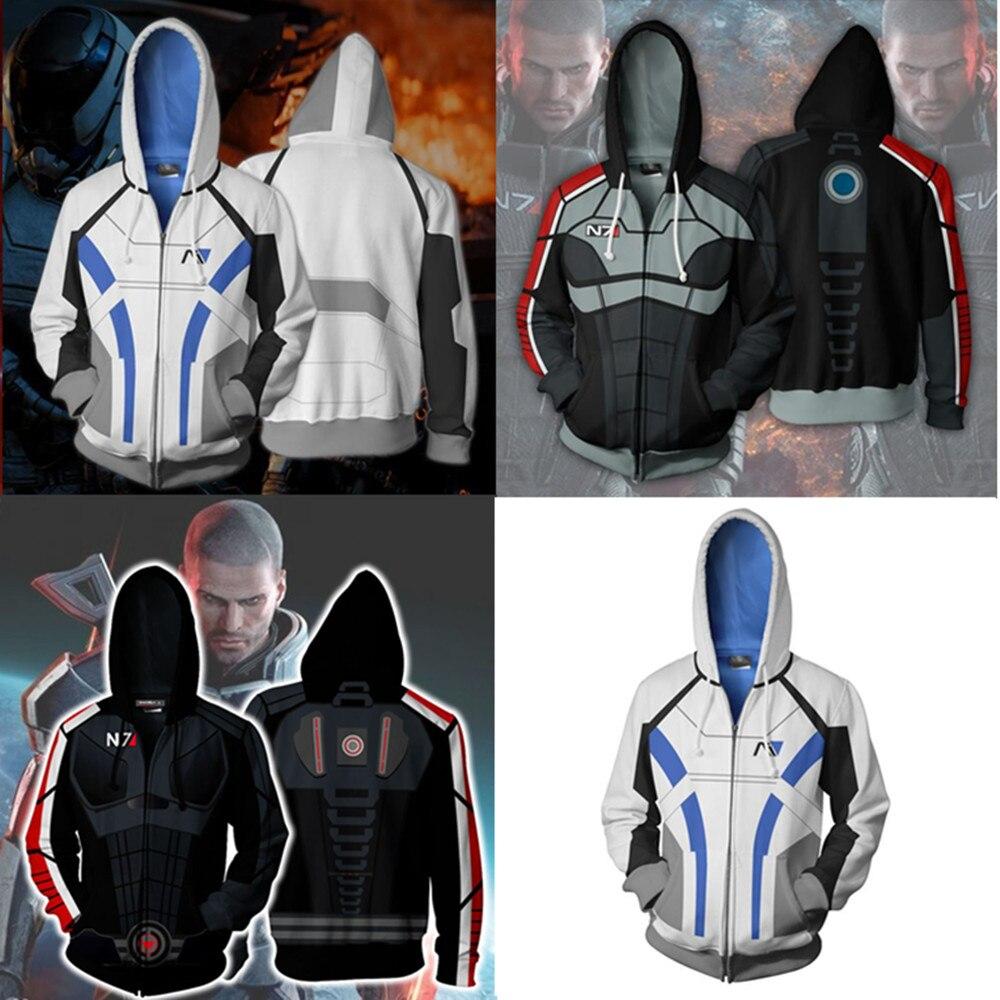 Efeito de massa N7 Cosplay Hoodies Homens Moletom Com Zíper Breasted Mass Effect Agasalho Casaco Cardigan Camisolas Com Capuz Casuais