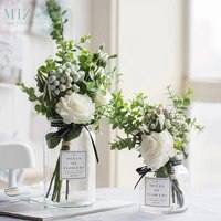 crystal glass vase with dried flowers home decor accessories artificial flower bouquet wedding party decoration