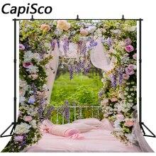 Фон для фотосъемки цветы сад кровать Весна свадьба фон фотосессия Декор Фотофон фото студия реквизит