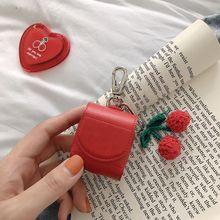 Etui casque pour Airpods 2 étui cuir luxe rouge cerise housse pour Apple Air Pods protection avec porte-clés accessoires housse