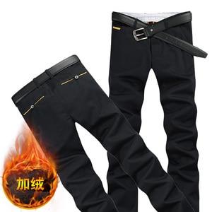 2019 Winter Plus Velvet Men's Casual Pants size 28-38 black blue pant Fashion Business Mens Trousers