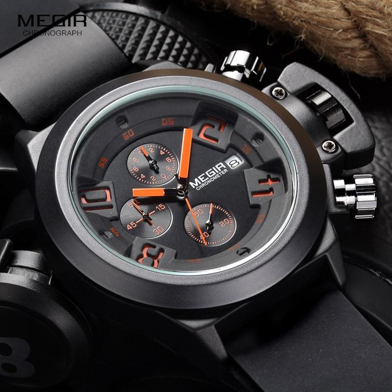 Megir Fashion Sports Quartz Watch Men's Rubber Band Wrist Watch Analog Chronograph Black Watch Male Clock Luxury Brand Top