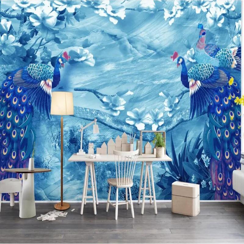 Wallpapers youman personalizado 3 d moderno papel de parede do desktop azul para meninas quarto decoração da para o pavão moderno quarto das crianças