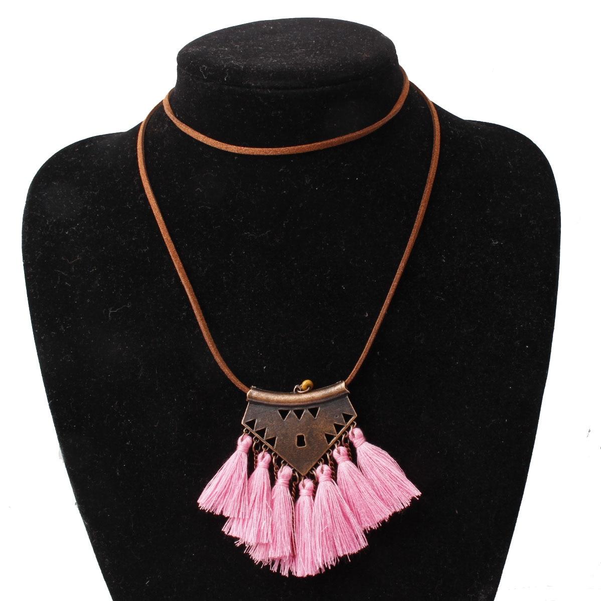 Collar largo borla Vintage bohemio étnico 80cm collar de cuero Collier Sautoir largo Lange Ketting Collier Mujer