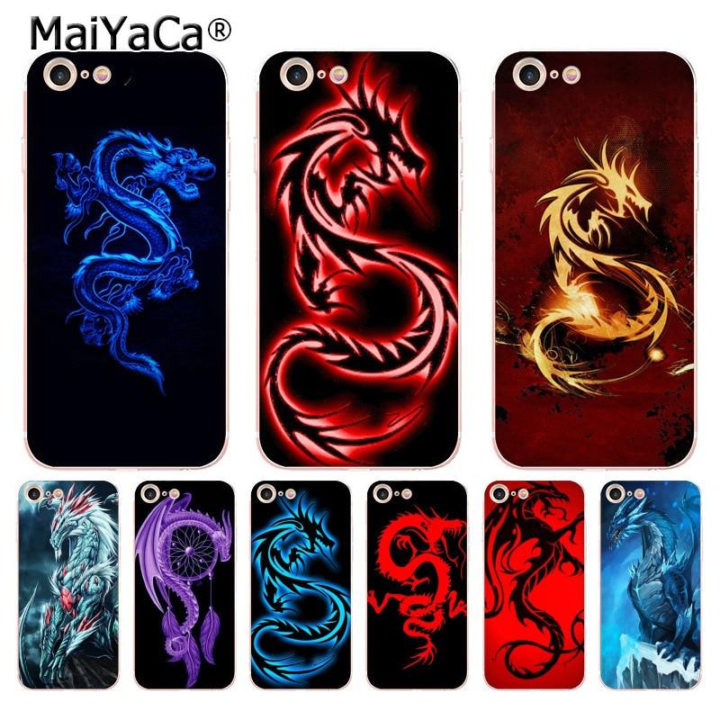 MaiYaCa para iphone 7 6 X funda azul dragón rojo DIY pintado hermoso teléfono carcasa para iphone 8 7 6 6S Plus X 10 5 5S SE 5C XS XR