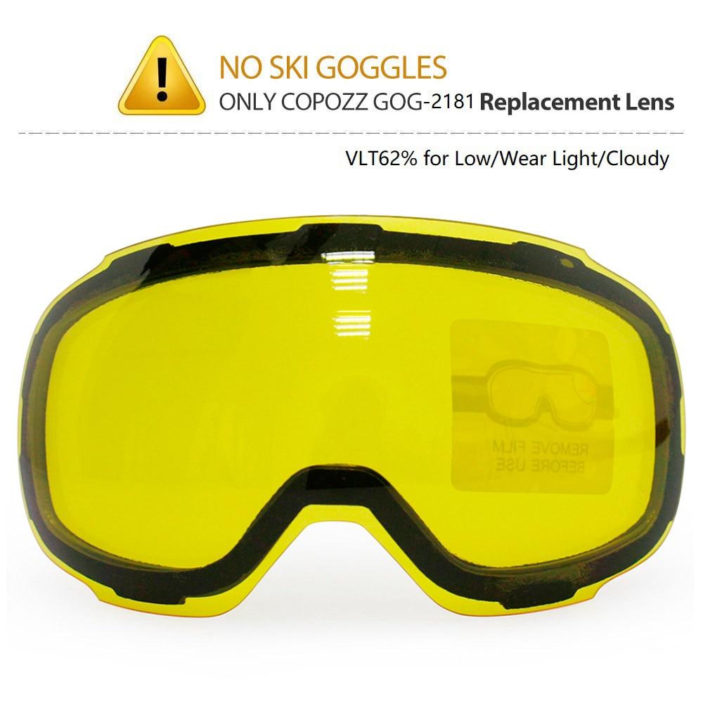 COPOZZ الأصلي GOG-2181 عدسة الأصفر أنعم المغناطيسي عدسة ل تزلج نظارات مكافحة الضباب UV400 كروية تزلج نظارات ليلة التزلج عدسة