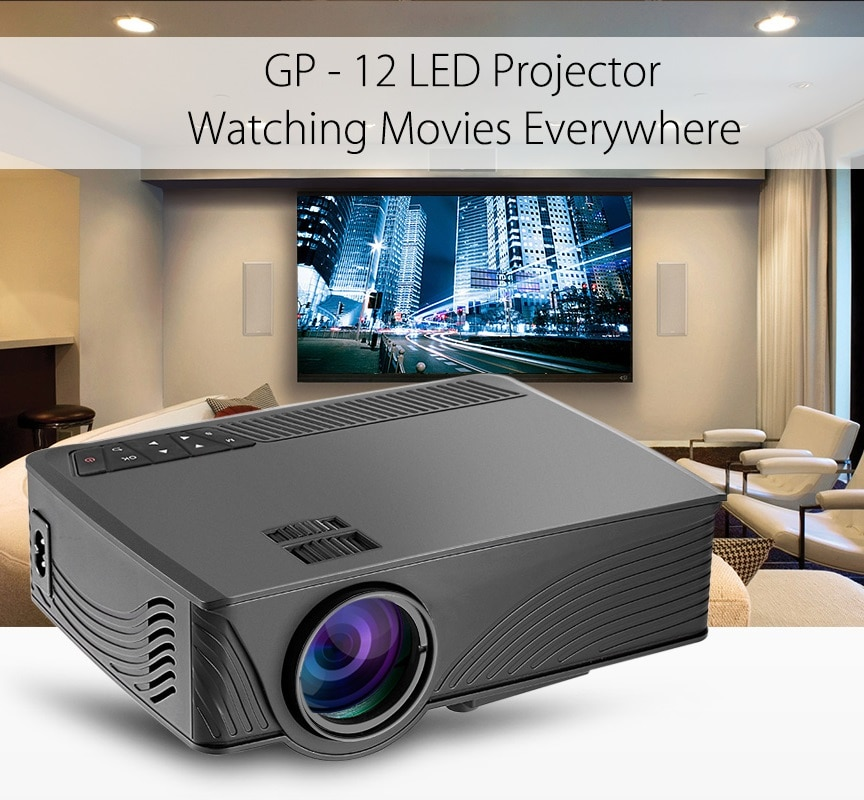 Proyector LCD LED Coolux GP-12 GP12 800x480 píxeles 2000 lúmenes soporte 3D 1080P para Proyector de reproductor de cine en casa