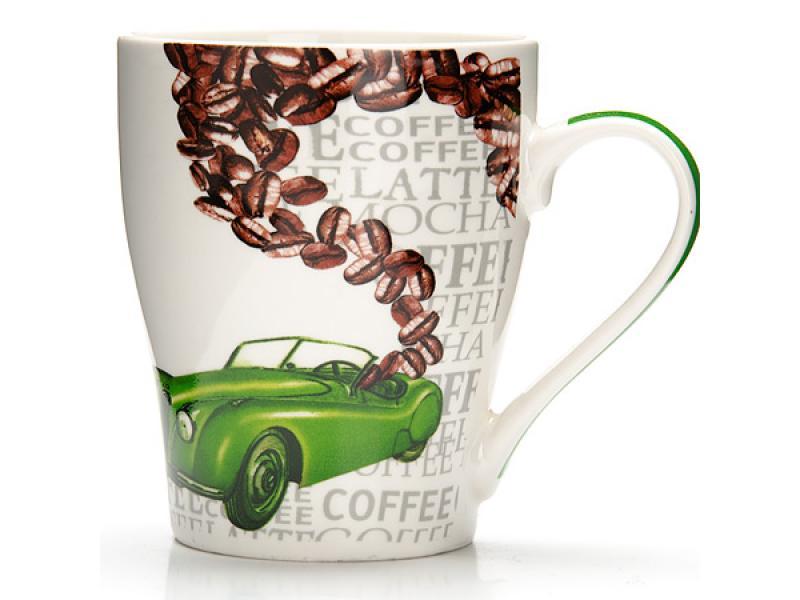 Taza Lorine, coche, 340 ml, patrón verde