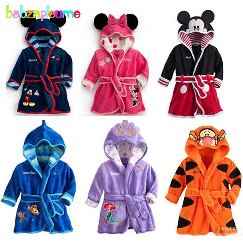 2-6Year/Soft Flannel Baby Boys Bath Hooded Bathrobe Cartoon Mouse Cute Kids Winter Pajamas Robe Girls Children Sleepwear  BC1202