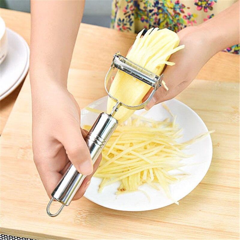 Multifuncional rotativa frutas vegetal descascador cenoura batata descascador melão ralador ralador acessórios de cozinha gadget tamanho grande
