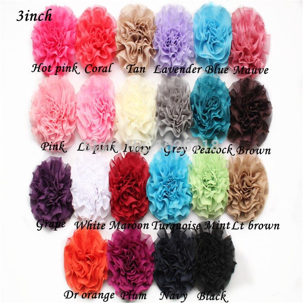 Alta calidad 3 pulgadas Chiffon flor diadema Niña Accesorios para el cabello chiffon shey Flower 30 unids/lote 22 colores disponibles envío gratis