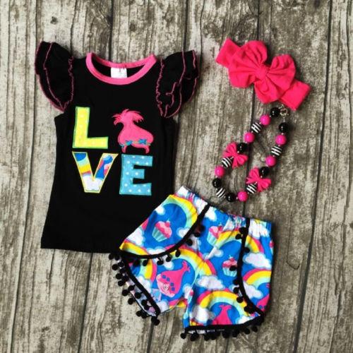 Pudococ nuevo Troll 2 uds chico lindo bebé niña verano sin mangas negro volantes Top camiseta Arco Iris pantalones cortos niños conjunto de ropa de verano