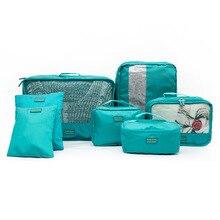 Sacs de rangement pour vêtements   Ensemble de 7 pièce/ensemble de sacs de rangement de voyage portables à partition pour vêtements, ensemble de sacs de rangement de voyage cosmétiques