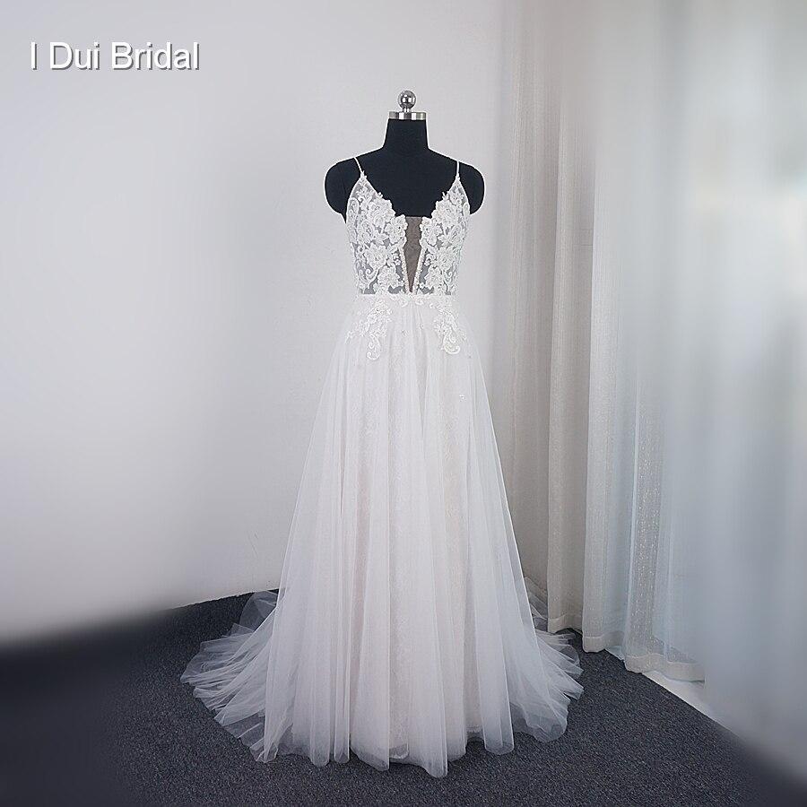 فستان زفاف من الدانتيل ، خط رقبة على شكل V عميق ، مطرز ، صورة حقيقية ، مجموعة جديدة