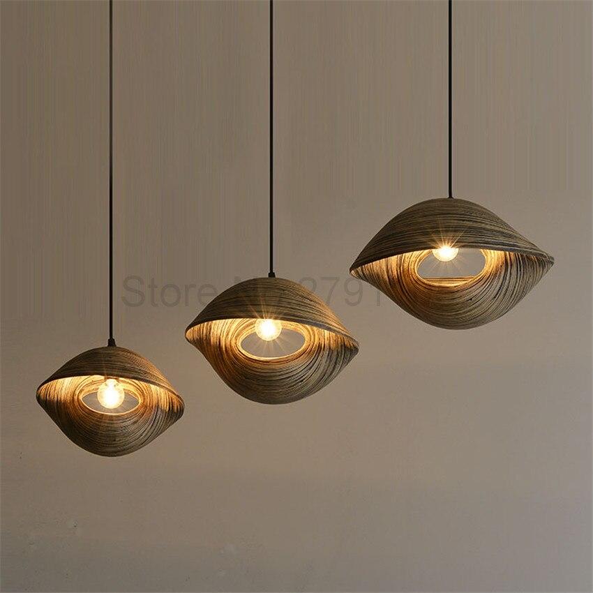Lámpara colgante de bambú con forma de concha de mar para restaurante, salón, luz colgante, creatividad, café, campo, luz colgante decorativa