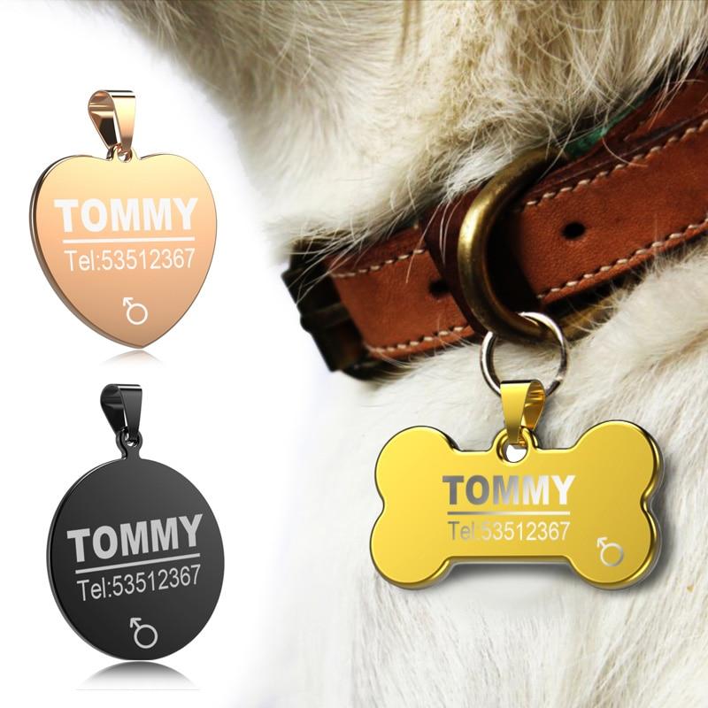 FLOWGOGO Anti-Pérdida de acero inoxidable perro ID Tag grabado Gato collar de cachorro accesorios teléfono etiquetas de nombres Pet ID etiquetas
