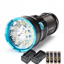 Led Zaklamp 6000 Lumen High-Power Torch 12 X Xm-T6 Camping Waterdichte Lamp + 4*18650 Batterij + 2 * Charger