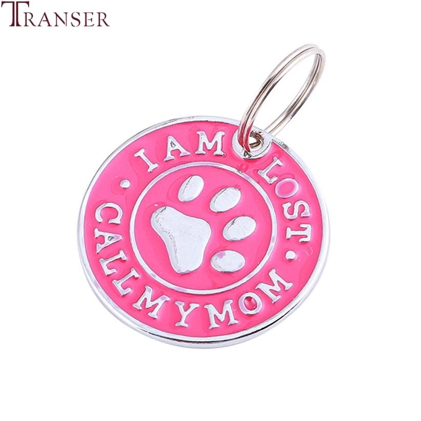 Transer, identificación de perro mascota, gato, etiquetas de nombre I AM LOST, llama a mi mamá, Collar de Mascota de forma redonda, Collar, colgantes, accesorio para el novio, 90423