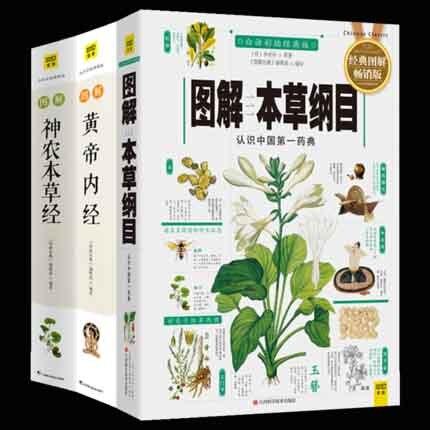 3pcs Compendium of Materia Medica Li Shizhen + Inner Canon of the Yellow Emperor  + Sheng Nong's herbal classic Medicine Book