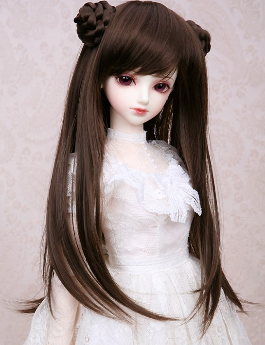 1/3 1/4 1/6 Peluca de muñeca BJD SD de alta temperatura alambre largo lindo BJD Peluca de muñeca de Super pelo