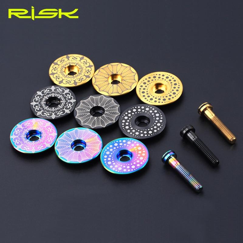 Risk 1 set Lightweight Titanium Alloy Bicycle Headset Cap + M6*30mm Bike Stem Bolt 3 Colors Screw Parts