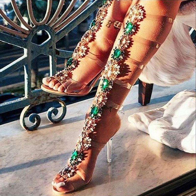 2019 verano chica Multi Rhinestone flor decoración PVC Sandalias Botas transparentes tacones hebilla cristal largo Sandalias Botas