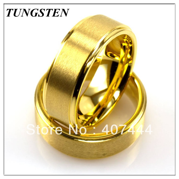 Anel de Cor Dourada com Bordas Anel para o Casamento Peças Lote 8mm Matte Centro Tungstênio Pisadas Ygk 10 –