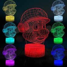 Dessin animé Figure Super Mario 3D lampe multicolore veilleuse enfants cadeau de noël chambre USB LED éclairage décoratif à la maison