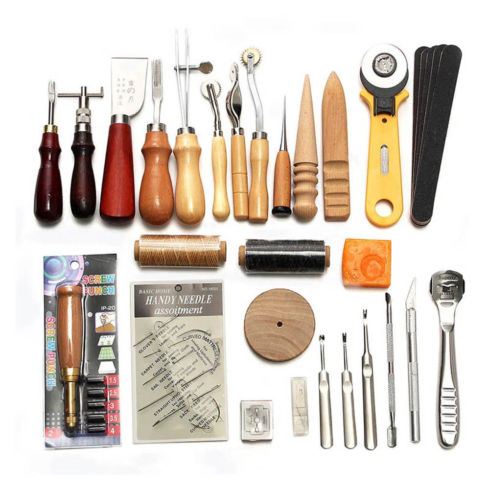 37 Uds Kit de herramientas artesanales de cuero herramientas para coser a mano punzón tallado silla Groover Lhipping WXV venta
