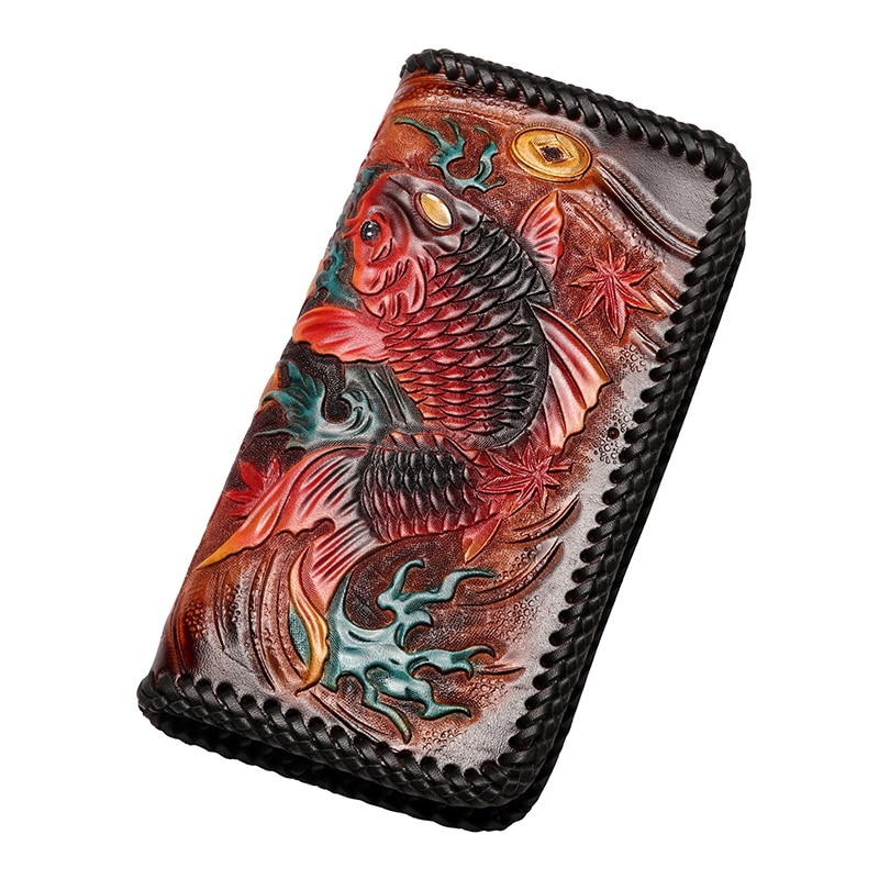 Hand Engraving Men Genuine Leather Knitting Wallets Carving Carp Bag Purses Women Clutch Vegetable Tanned Leather Wallet Gifts