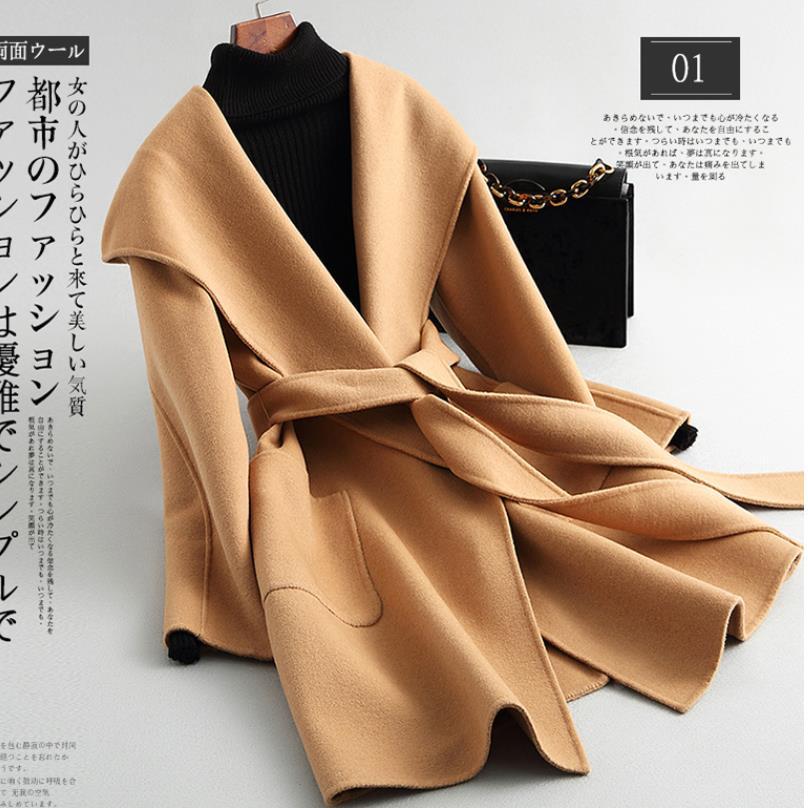 Otoño e invierno abrigo de lana pura Casual con capucha Cardigan hecho a mano de Cachemira de doble cara chaqueta Mujer