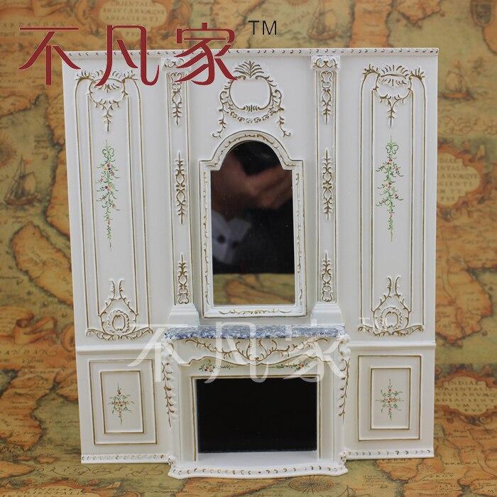 Escala 1/12, casa de muñecas fina, muebles en miniatura, chimenea general pintada a mano