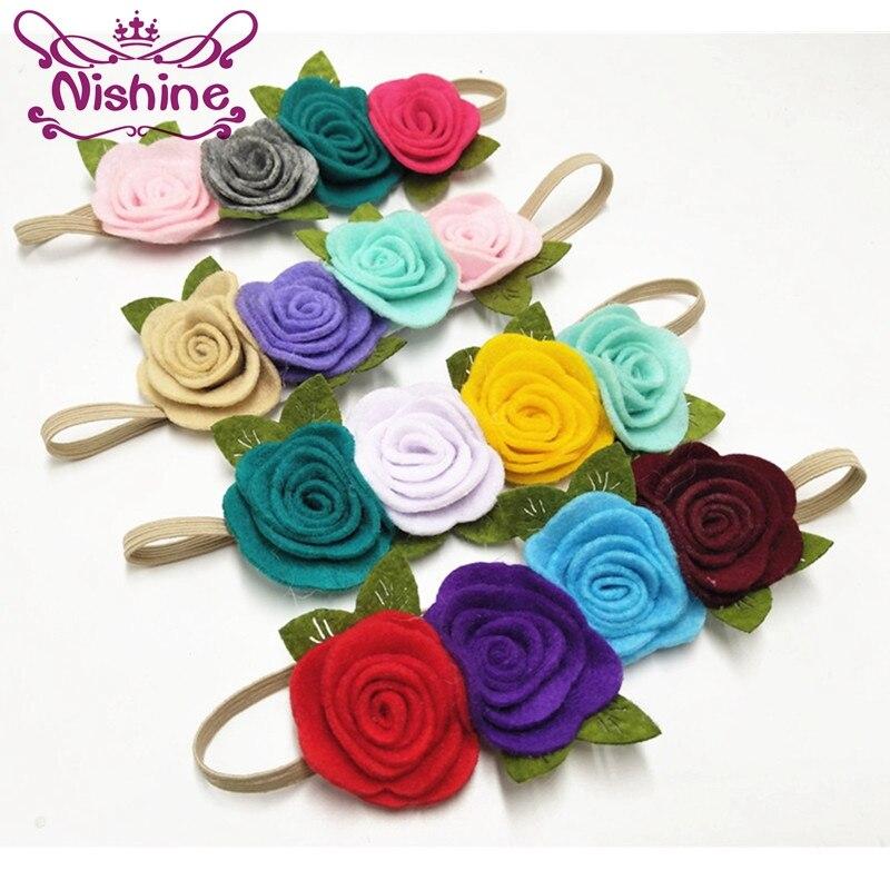 Nishine 10 шт./лот, повязка на голову с цветочной короной для девочек, повязка на голову с розами, эластичная повязка на голову с цветочным узором ...