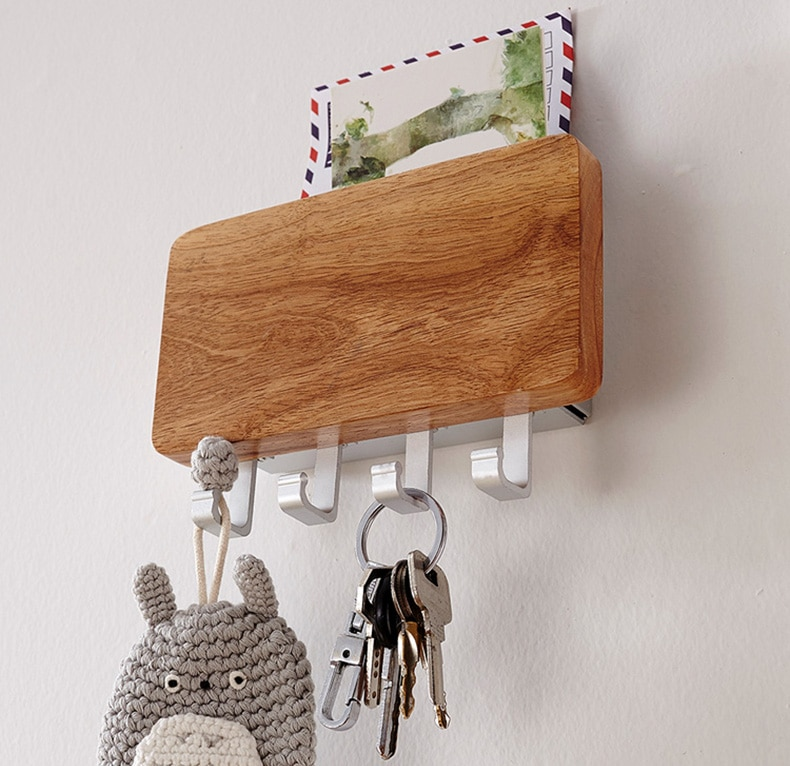 Colgador decorativo de gancho de madera para llave/Correo/cremallera para cartas, almacenamiento de llaves, entrada, porche, almacenamiento de anillo, estante para pared de salón, colgante